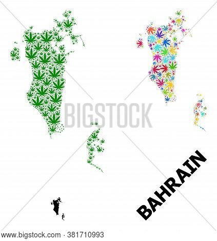 Vector Weed Mosaic And Solid Map Of Bahrain. Map Of Bahrain Vector Mosaic For Weed Legalize Campaign