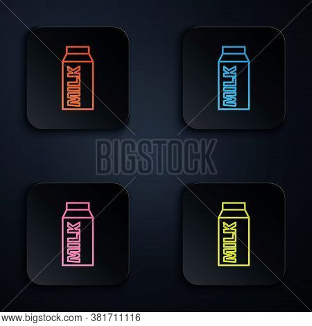 Color Neon Line Paper Package For Milk Icon Isolated On Black Background. Milk Packet Sign. Set Icon
