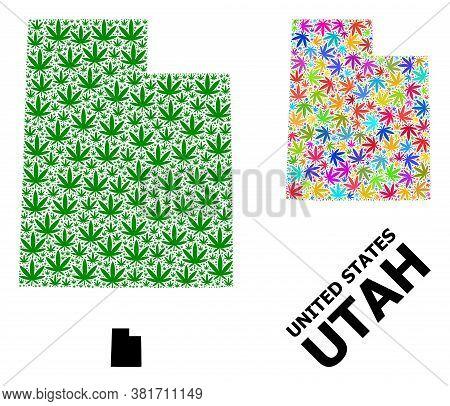 Vector Marijuana Mosaic And Solid Map Of Utah State. Map Of Utah State Vector Mosaic For Weed Legali