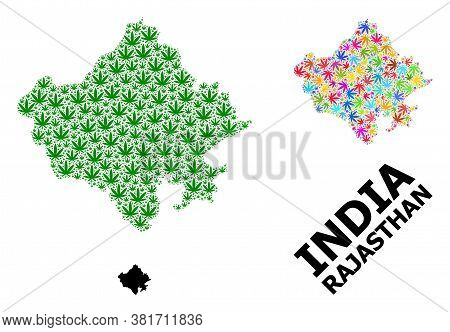 Vector Marijuana Mosaic And Solid Map Of Rajasthan State. Map Of Rajasthan State Vector Mosaic For M