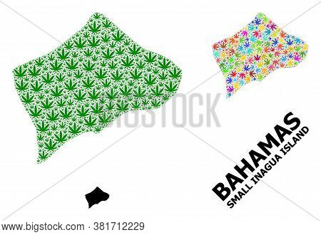 Vector Weed Mosaic And Solid Map Of Small Inagua Island. Map Of Small Inagua Island Vector Mosaic Fo