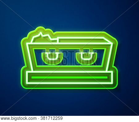 Glowing Neon Line Open Coffin With Dead Deceased Body Icon Isolated On Blue Background. Funeral Afte