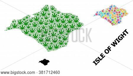 Vector Marijuana Mosaic And Solid Map Of Isle Of Wight. Map Of Isle Of Wight Vector Mosaic For Hemp