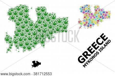 Vector Weed Mosaic And Solid Map Of Mykonos Island. Map Of Mykonos Island Vector Mosaic For Drug Leg