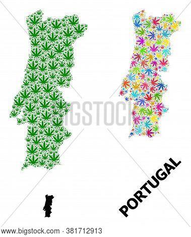 Vector Marijuana Mosaic And Solid Map Of Portugal. Map Of Portugal Vector Mosaic For Marijuana Legal