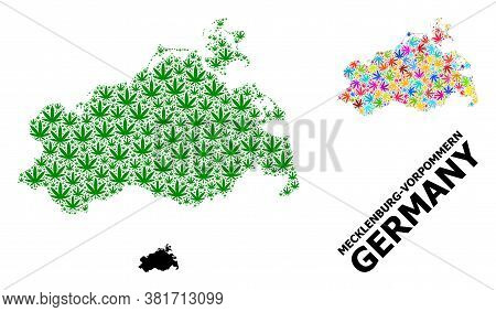 Vector Weed Mosaic And Solid Map Of Mecklenburg-vorpommern State. Map Of Mecklenburg-vorpommern Stat