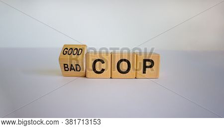 Turned Cubes And Changed The Expression 'bad Cop' To 'good Cop', Or Vice Versa. Beautiful White Back