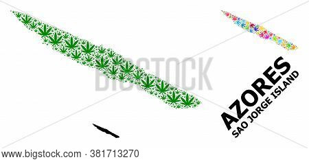 Vector Weed Mosaic And Solid Map Of Sao Jorge Island. Map Of Sao Jorge Island Vector Mosaic For Weed