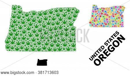 Vector Cannabis Mosaic And Solid Map Of Oregon State. Map Of Oregon State Vector Mosaic For Weed Leg