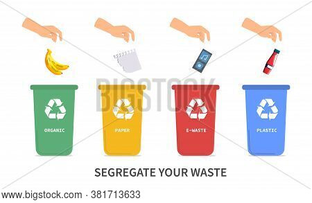 Recycling And Segregating Your Waste Concept With Person Using Four Color Coded Bins For Glass, Pape