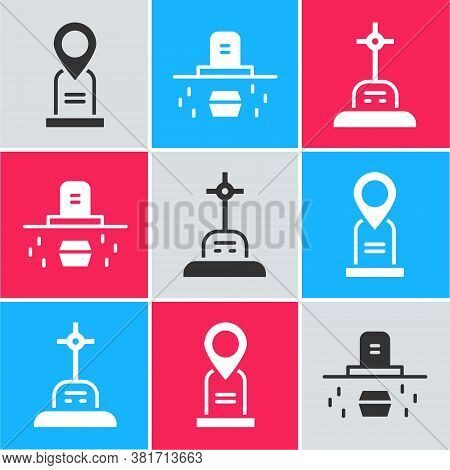 Set Location Grave, Grave With Coffin And Grave With Cross Icon. Vector