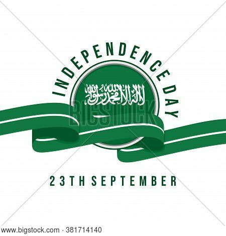 Saudi Arabia Flag Round With Saudi Arabia Color Ribbon Vector Illustration For Independence Day Desi