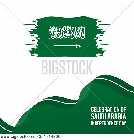 Abstract Background Of Saudi Arabia Flag With Ribbon Vector Illustration. Good Template For Saudi Ar