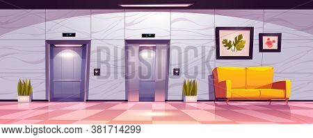 Hallway With Lift Doors, Empty Lobby Interior With Couch, Slightly Ajar And Open Elevator Gates. Off