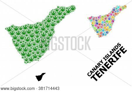 Vector Weed Mosaic And Solid Map Of Tenerife Island. Map Of Tenerife Island Vector Mosaic For Hemp L