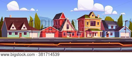 Suburb Houses And Underground Pipeline. Sewer And Plumbing System Under City Street. Vector Cartoon