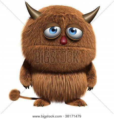 3d cartoon cute furry brown alien monster poster
