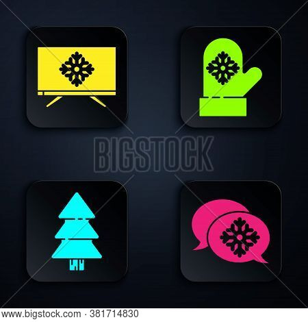 Set Snowflake With Speech Bubble, Merry Christmas On Television, Christmas Tree And Christmas Mitten