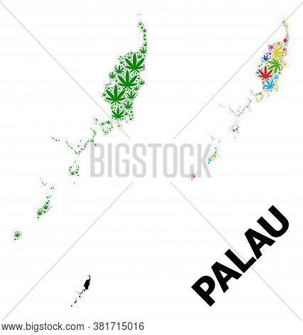 Vector Weed Mosaic And Solid Map Of Palau Islands. Map Of Palau Islands Vector Mosaic For Marijuana