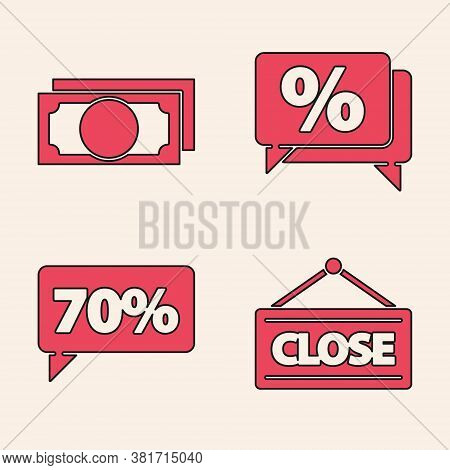 Set Hanging Sign With Closed, Stacks Paper Money Cash, Discount Percent Tag And Seventy Discount Per