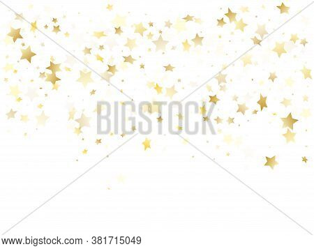 Magic Gold Sparkle Texture Vector Star Background. Cool Gold Falling Magic Stars On White Background