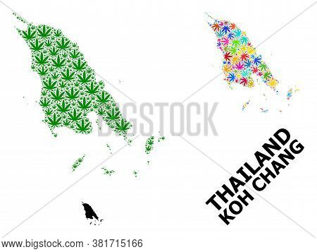 Vector Marijuana Mosaic And Solid Map Of Koh Chang. Map Of Koh Chang Vector Mosaic For Marijuana Leg