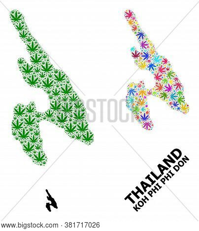 Vector Cannabis Mosaic And Solid Map Of Koh Phi Don. Map Of Koh Phi Don Vector Mosaic For Marijuana