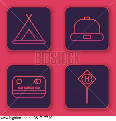 Set Line Tourist Tent, Credit Card, Beanie Hat And Parking. Blue Square Button. Vector