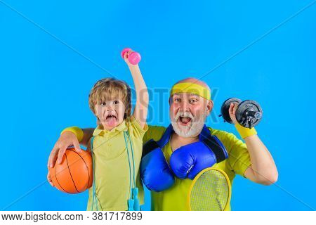 Sporting. Sport Game. Family Workout Together. Family Sport. Portrait Of Grandfather And Son Working