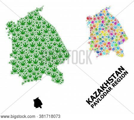 Vector Weed Mosaic And Solid Map Of Pavlodar Region. Map Of Pavlodar Region Vector Mosaic For Mariju