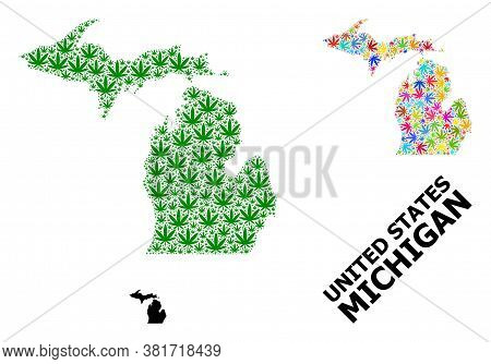 Vector Weed Mosaic And Solid Map Of Michigan State. Map Of Michigan State Vector Mosaic For Weed Leg