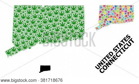 Vector Weed Mosaic And Solid Map Of Connecticut State. Map Of Connecticut State Vector Mosaic For Dr