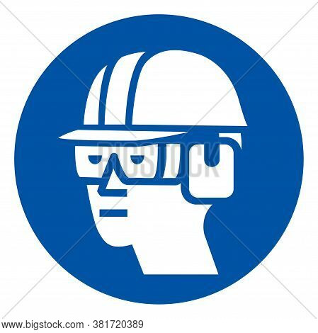 Wear Hard Hat, Chemical Goggles And Ear Muffs Symbol Sign ,vector Illustration, Isolate On White Bac