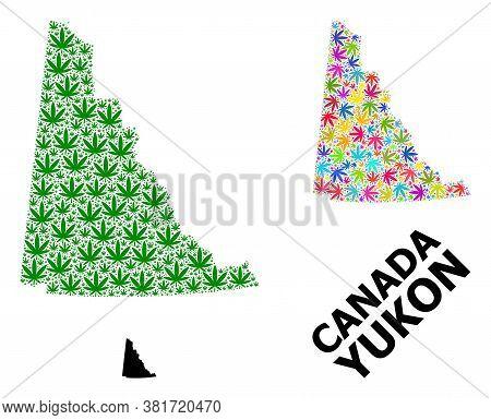 Vector Weed Mosaic And Solid Map Of Yukon Province. Map Of Yukon Province Vector Mosaic For Weed Leg