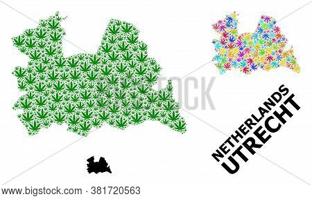 Vector Weed Mosaic And Solid Map Of Utrecht Province. Map Of Utrecht Province Vector Mosaic For Mari