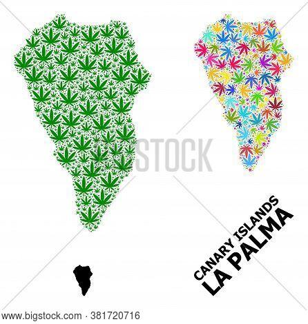 Vector Weed Mosaic And Solid Map Of La Palma Island. Map Of La Palma Island Vector Mosaic For Cannab