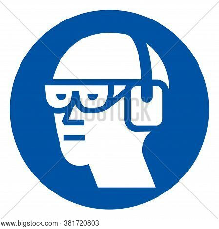 Wear Chemical Goggles And Ear Muffs Symbol Sign ,vector Illustration, Isolate On White Background La