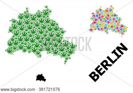 Vector Hemp Mosaic And Solid Map Of Berlin City. Map Of Berlin City Vector Mosaic For Hemp Legalize