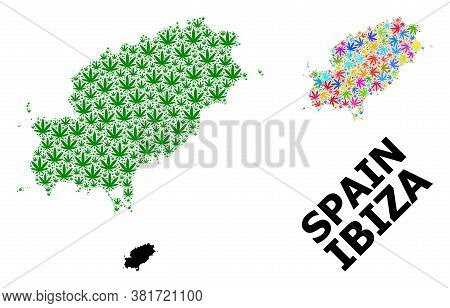 Vector Weed Mosaic And Solid Map Of Ibiza Island. Map Of Ibiza Island Vector Mosaic For Weed Legaliz