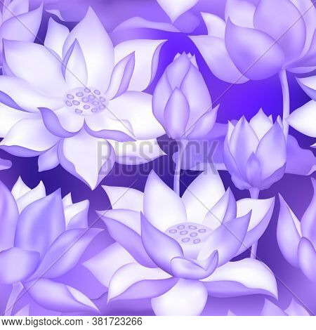 Lotus Buds And Flowers Seamless Background. Water Lilly Nelumbo Aquatic Plant Botanical Design. Sacr