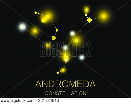 Constellation Andromeda. Bright Yellow Stars In The Night Sky. A Cluster Of Stars In Deep Space, The
