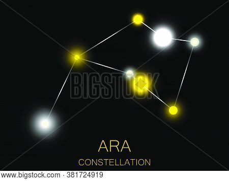 Ara Constellation. Bright Yellow Stars In The Night Sky. A Cluster Of Stars In Deep Space, The Unive