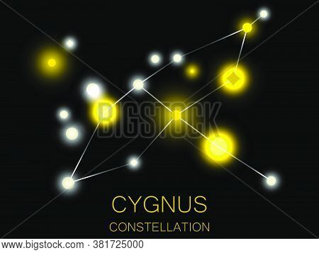 Cygnus Constellation. Bright Yellow Stars In The Night Sky. A Cluster Of Stars In Deep Space, The Un