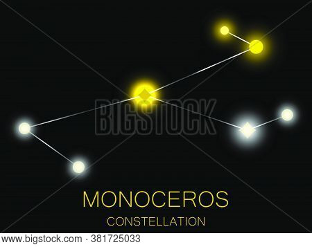 Monoceros Constellation. Bright Yellow Stars In The Night Sky. A Cluster Of Stars In Deep Space, The
