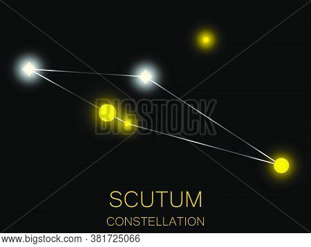 Scutum Constellation. Bright Yellow Stars In The Night Sky. A Cluster Of Stars In Deep Space, The Un