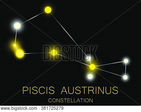 Piscis Austrinus Constellation. Bright Yellow Stars In The Night Sky. A Cluster Of Stars In Deep Spa