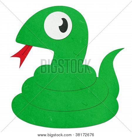 Rice Paper Cut Cute Cartoon Green Snake