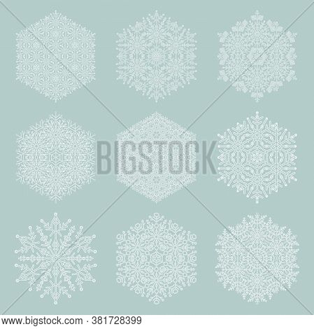Set Of Vector Snowflakes. Light Blue And White Winter Ornaments. Snowflakes Collection. Snowflakes F