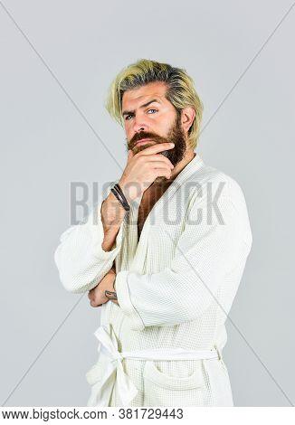 Spa Resort. Hotel Apartments. Bearded Guy Wearing White Bathrobe. Mature Man Wear Bathrobe Relaxing