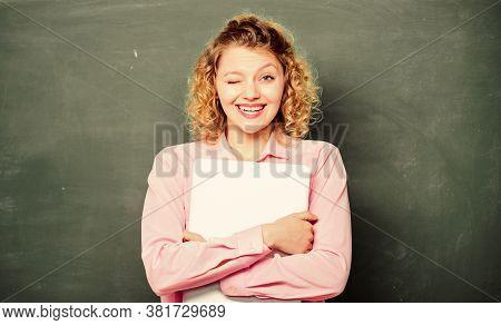 Back To School. Teaching Informatics. School Education Concept. Woman Adorable Teacher Hold Laptop S
